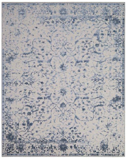 Grauer Webteppich mit dunkelblauem floralem Muster