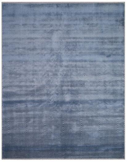 GraublauerJacquard-Teppich mit Rautenmuster