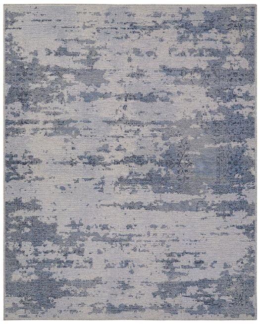 Jeansblau-grauer Jacquard-Teppich im Used Look