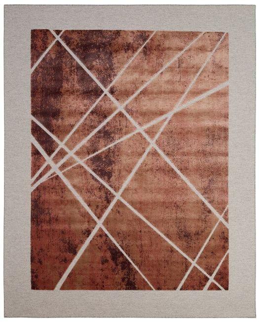Jacquard-Teppich kupferfarben mit silber-grrauem Rand und Linienmuster
