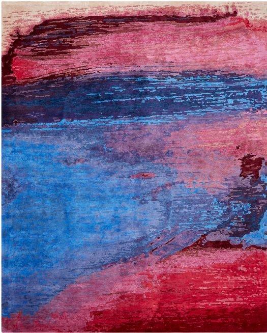 Rot-blauer Teppich, handgeknüpft, in modernem Design