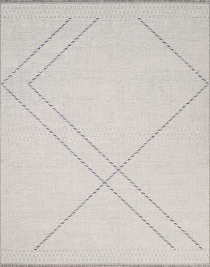 Hellbeiger Jacquard-Teppich mit hellgrau-dunkelgrau gestreiften Linien
