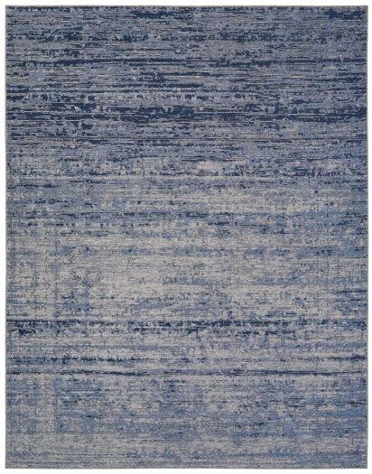 Jacquard-Teppich dunkelblau-grau meliert