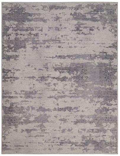 Grauer Jacquard-Teppich aus Schurwolle und Viskose
