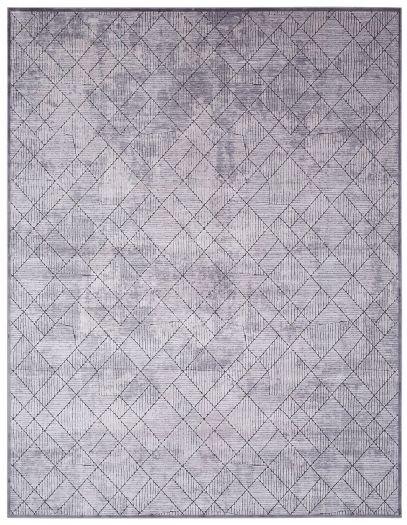 Silbergrauer-Jacquard-Teppich mit Karomuster