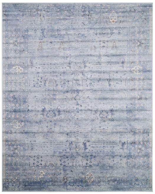Blau-grauer Webteppich mit orientalischem Muster